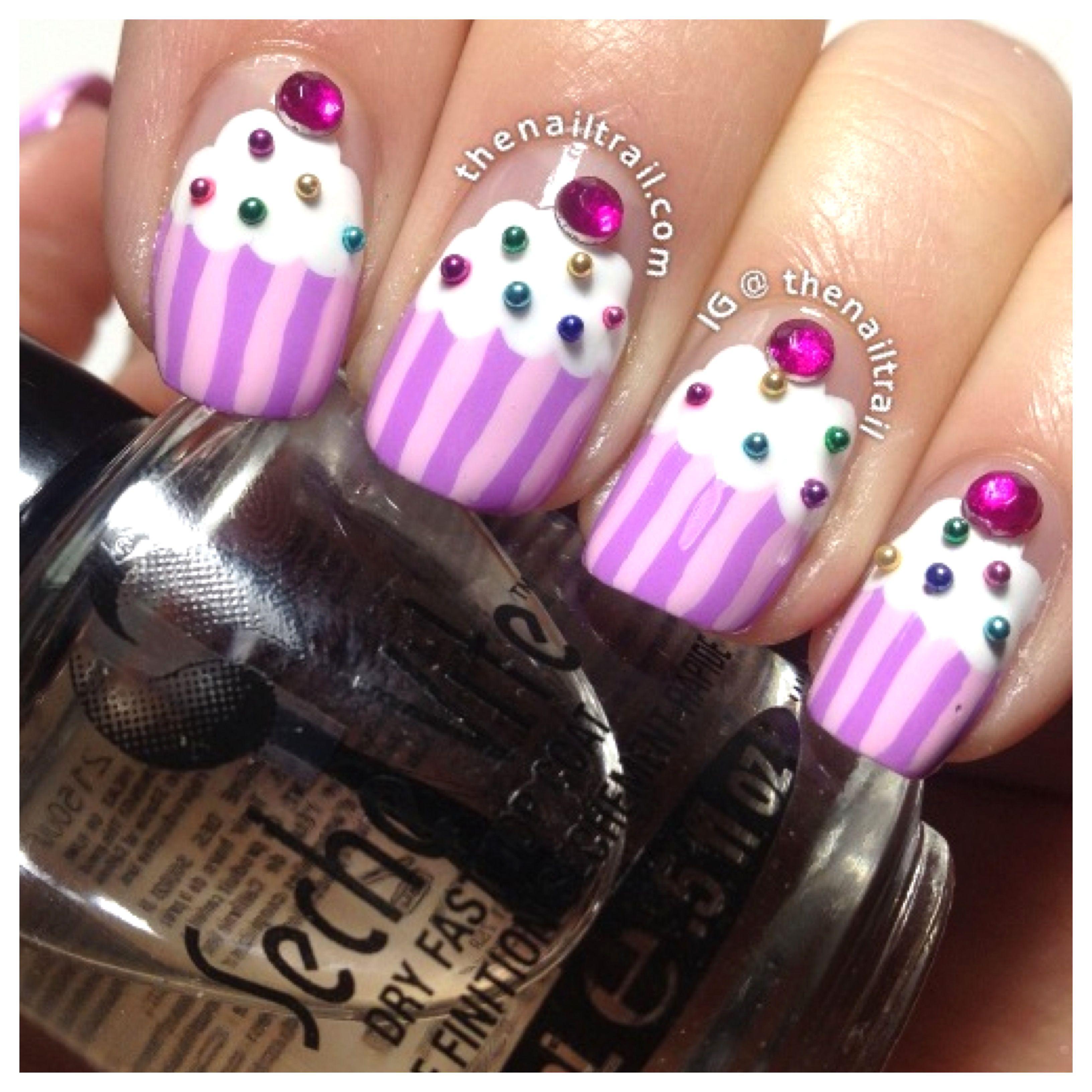 Cupcake nail art | Beauty - Nails | Pinterest | Cupcake ...
