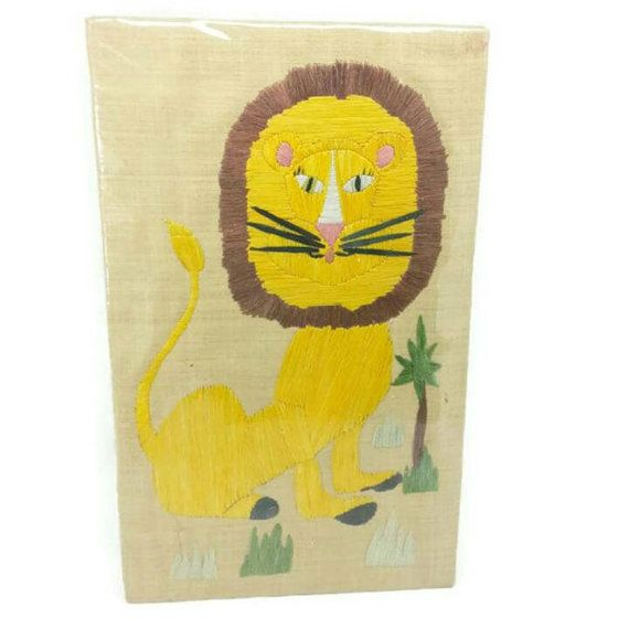 1960\'s Lion Raffia on Burlap Wall Hanging,Vintage Nursery Wall Art ...