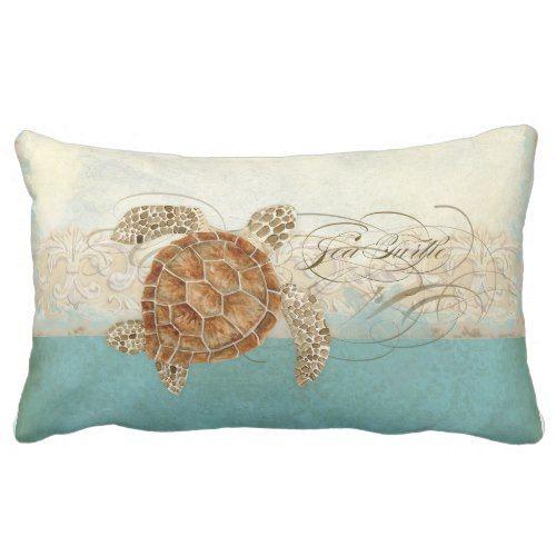 Sea Turtle Modern Coastal Ocean Beach Swirls Style Lumbar Pillow
