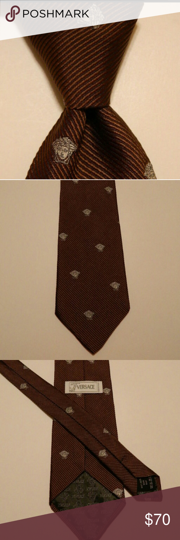 """GIANNI VERSACE Necktie MEDUSA HEAD Brown EUC GIANNI VERSACE Men's 100% Silk Necktie ITALY Luxury MEDUSA HEAD Brown/Gray EUC  Brand: Gianni Versace Style: Neck Tie Color: Brown/Gray Material: 100% Silk Attachment: Tied Length: Classic 59 1/4"""" Width: Classic 3 3/4"""" Pattern: Novelty (Medusa Head) & Textured Stripes Country/Region of Manufacturer: Italy Condition:Excellent Used Condition GIANNI VERSACE  Accessories Ties"""