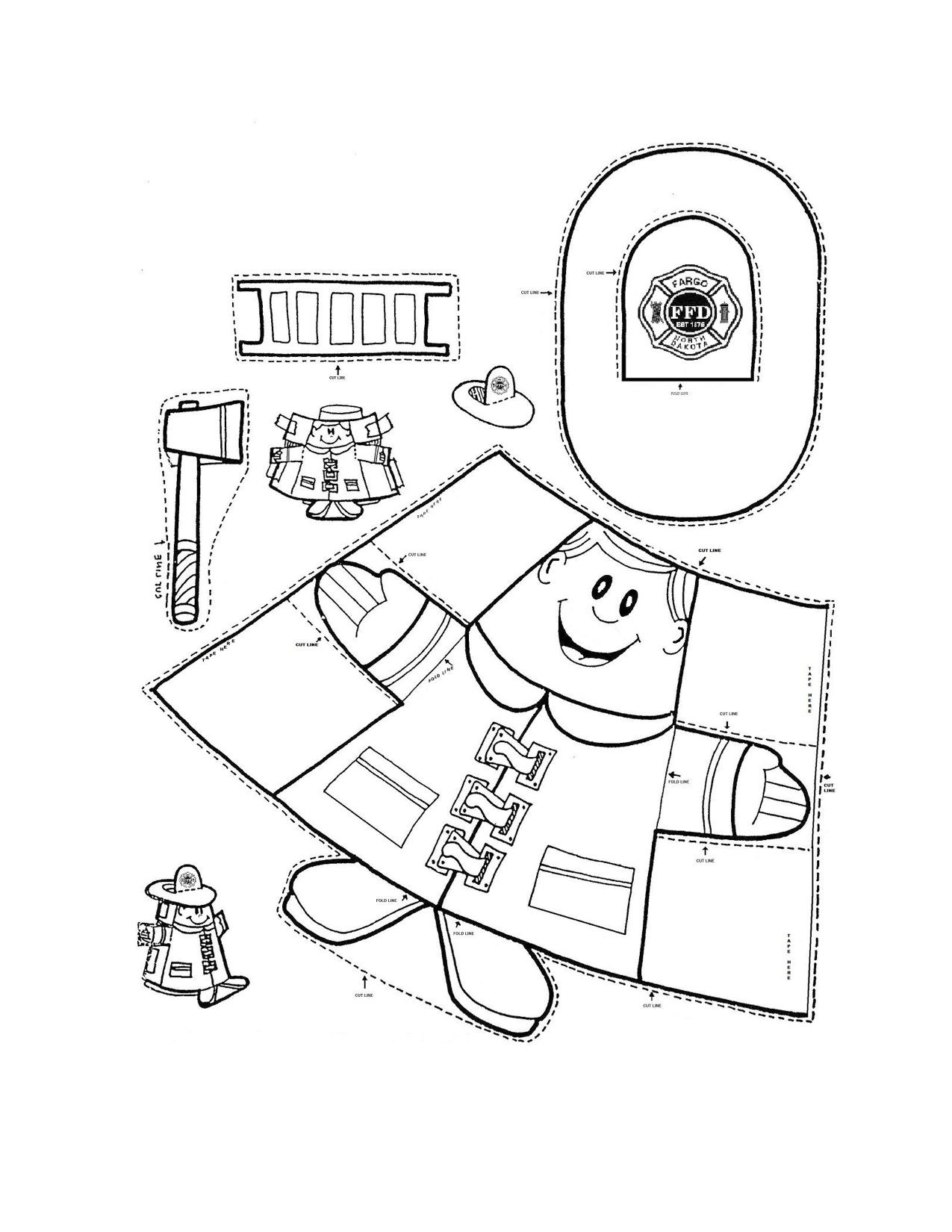 Paper Cup Fireman Puppet And Other Links To Fire Prevention Activities