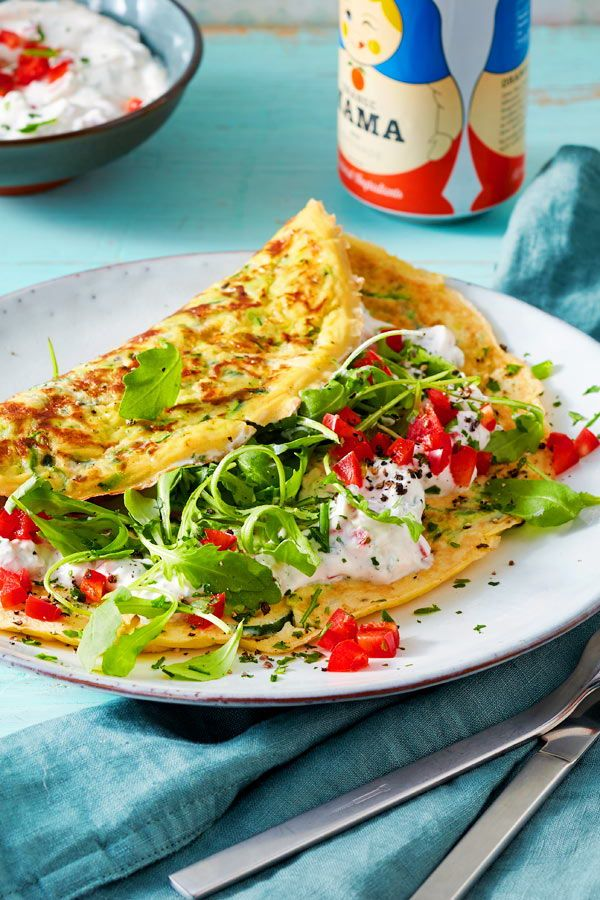Photo of Zucchini omelet with bell pepper curd recipe DELICIOUS