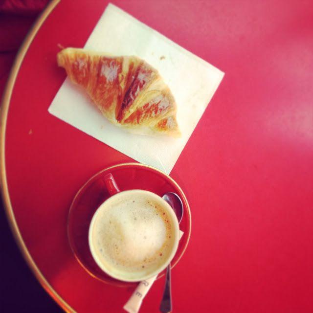 Tania McCartney Blog: photography Paris Cafe des Beaux Arts croissant coffee red table