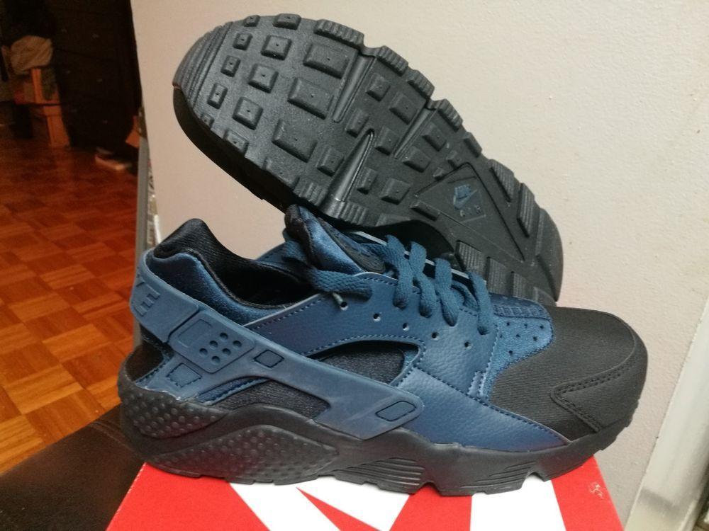 size 40 4d87f b3d3b Men s Nike Air Huarache PRM Black Squadron Blue 704830 004 Size 9-9.5