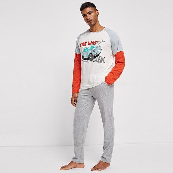 683866d52b ad Men Color-Block Raglan Sleeve Top & Pants PJ Set | SheIn | Price ...