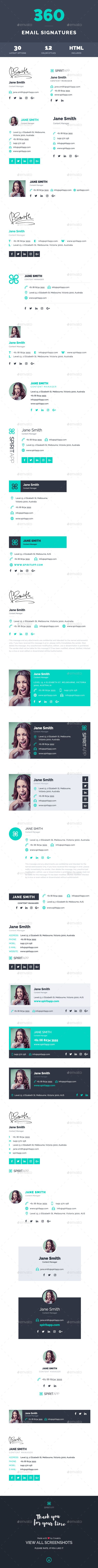 360 Professional E-Signature Templates | Template, Email signatures ...