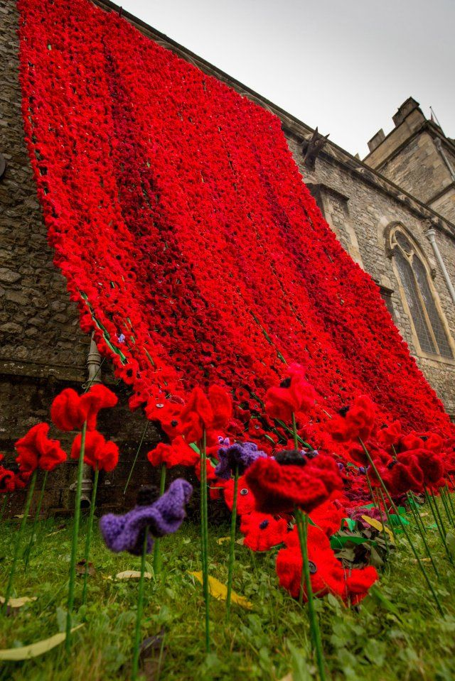 Huge cascade of knitted poppies pour from church for