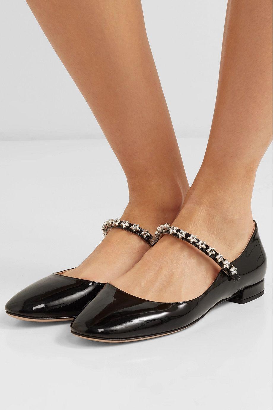 018a0085fed Miu Miu | Crystal-embellished patent-leather Mary Jane ballet flats |  NET-A-PORTER.COM