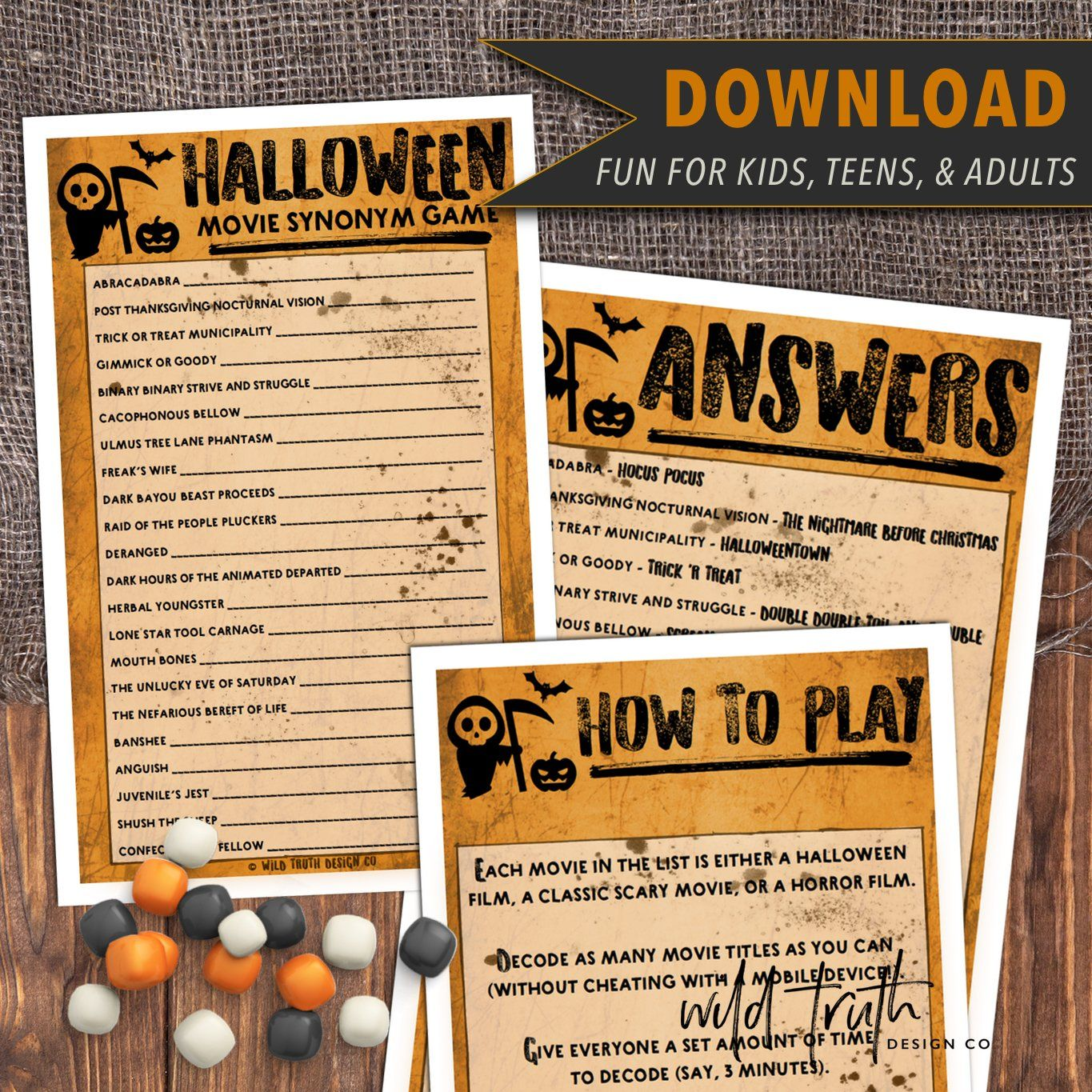 Scary Movie Synonym Game Adult Halloween Party