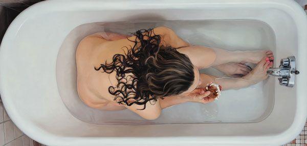 Girl in Bath eating Food -  American realist painter, Lee Price