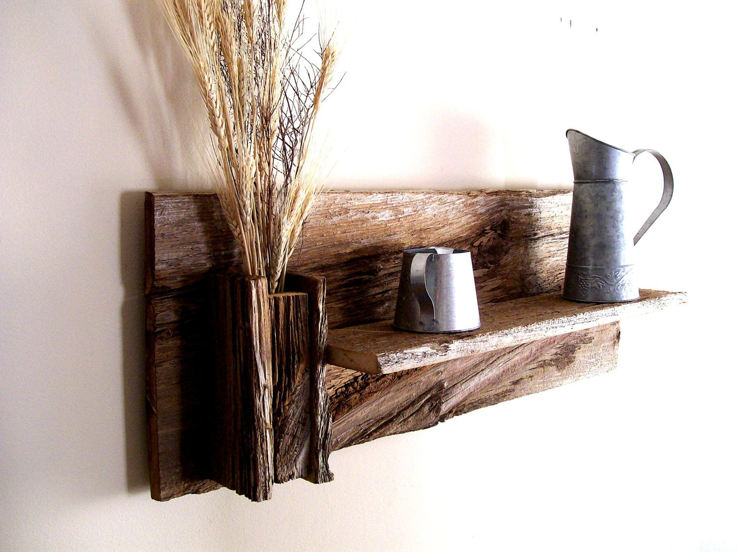rustic reclaimed barn wood wall shelf beautiful. Black Bedroom Furniture Sets. Home Design Ideas