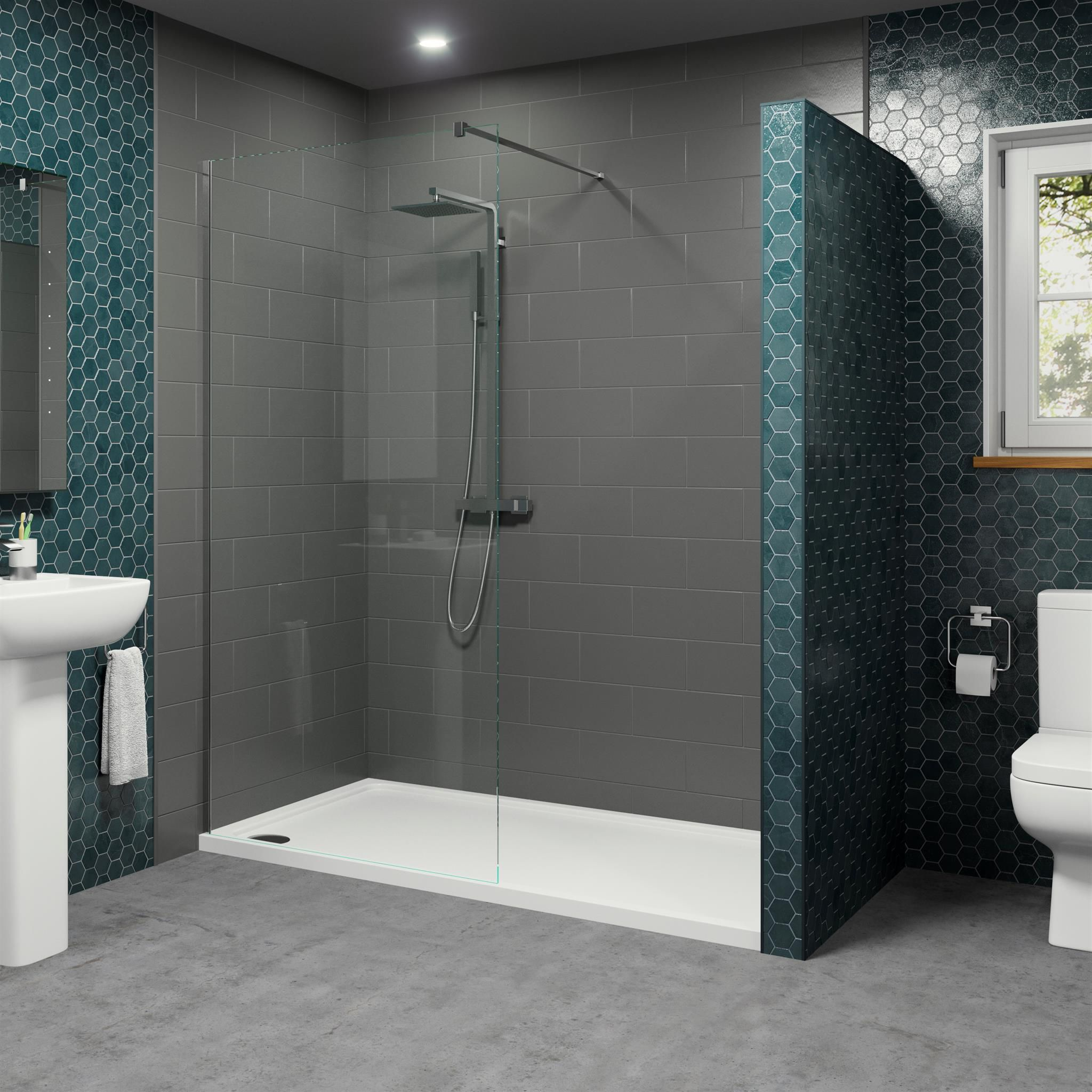 1700 X 700mm Walk In Shower Enclosure 1000mm Screen 8mm Glass And Podium Anti Slip Tray Shower Enclosure Walk In Shower Enclosures Walk In Shower