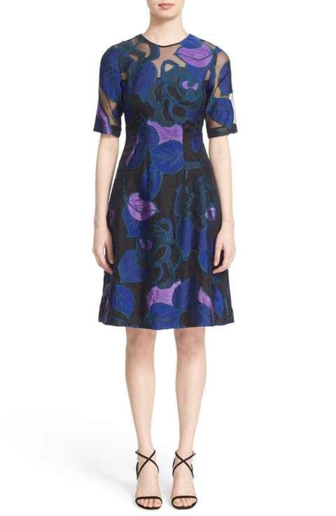 Lela Rose 'Holly' Leaf Fil Coupé Fit & Flare Dress