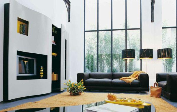 wohnzimmer schöner gelber teppich schwarze möbel | Wohnzimmer Ideen ...