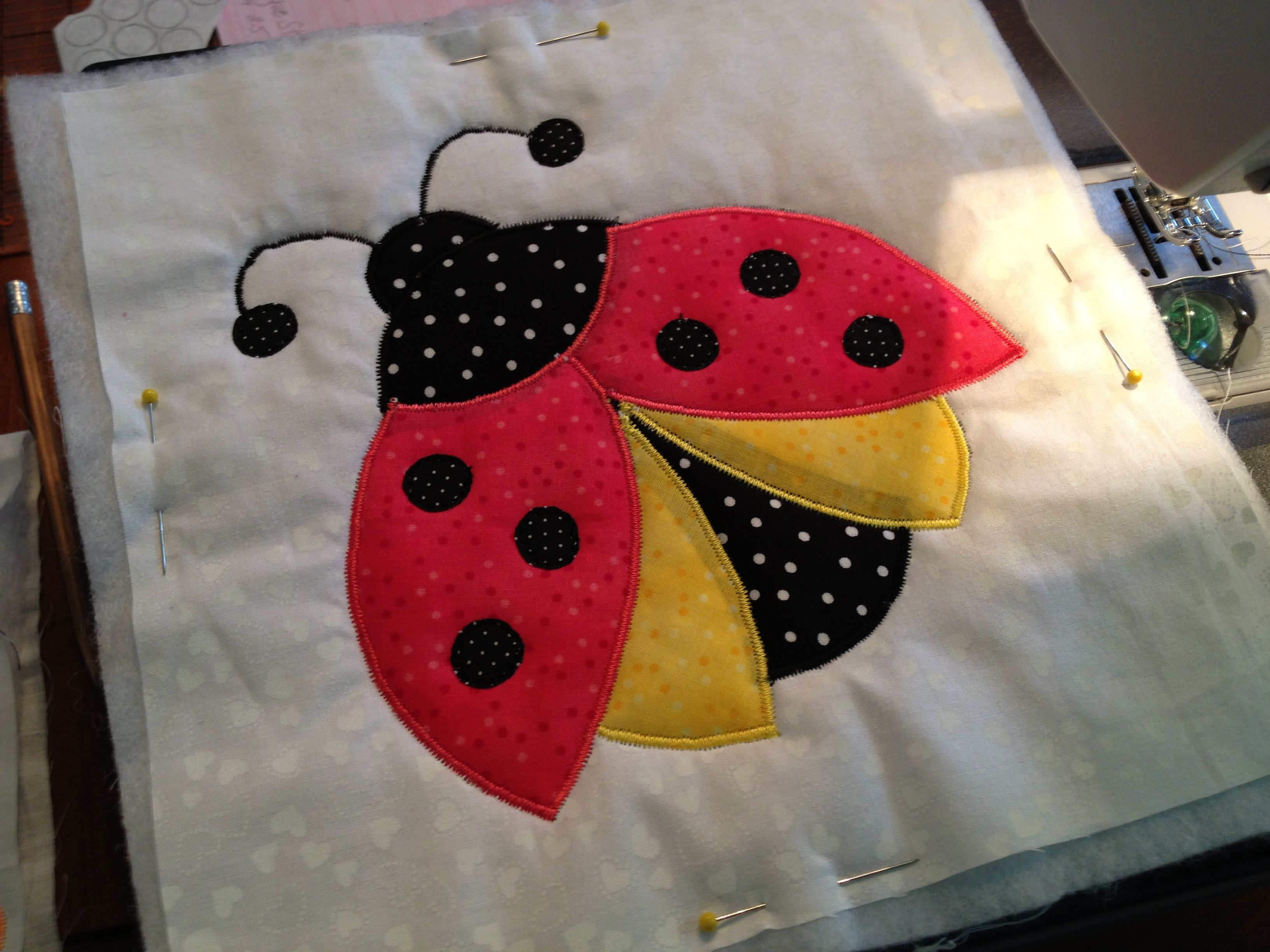 Ladybug applique block for a quilt as you go quilt project. my