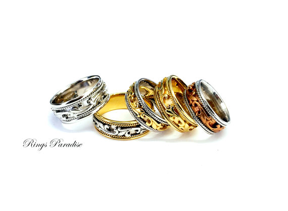 High Quality In Style Womens And Mens Wedding Bands Personalized 14K Gold Comfort Fit Celtic Design