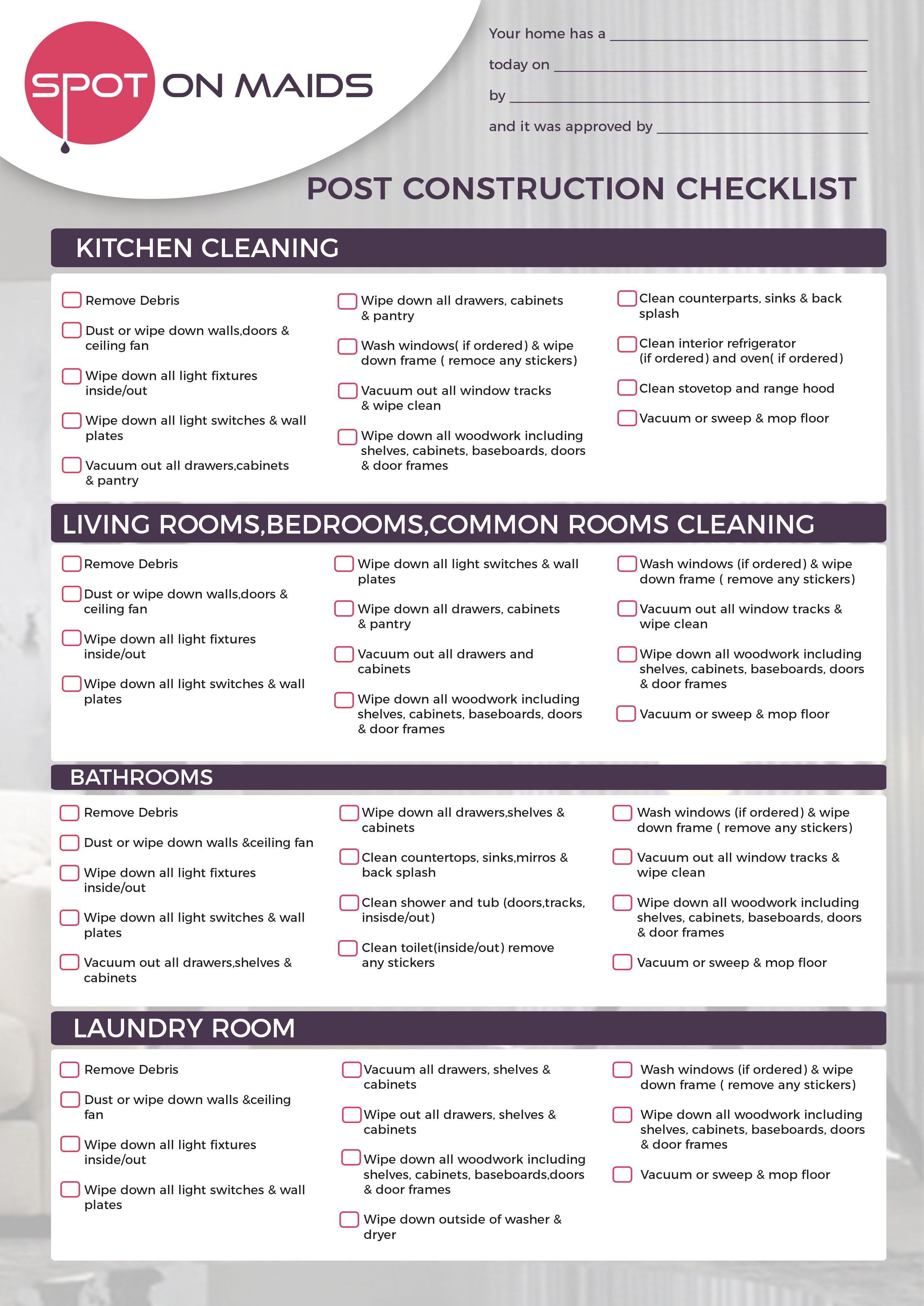 Cleaning Checklist Cleaning Checklist Construction Cleaning House Cleaning Checklist