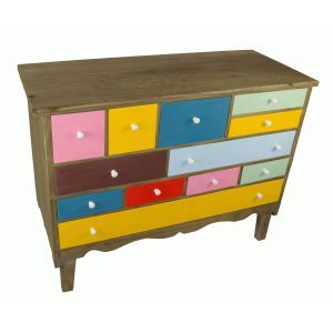 Multi-Coloured Wooden Drawers Set