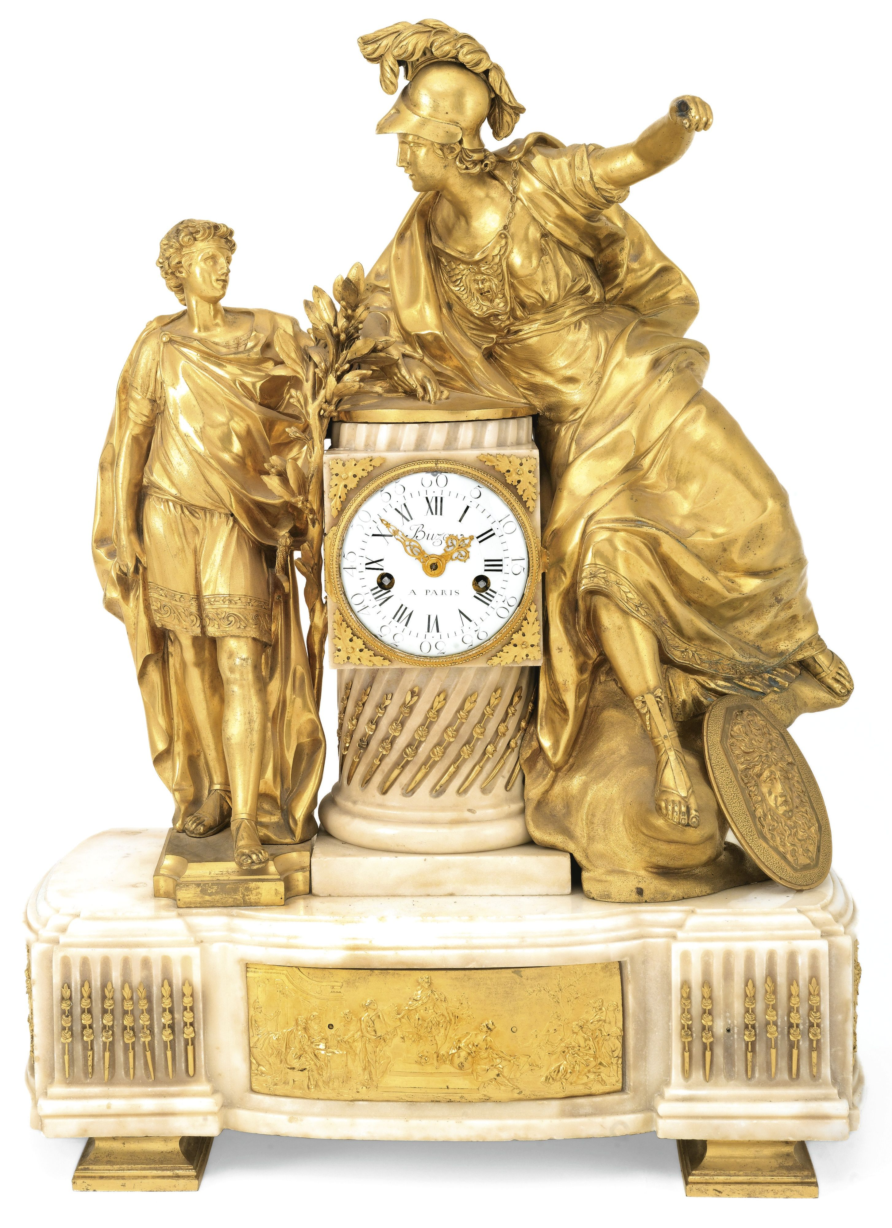 C1775 A Louis Xvi Ormolu And White Marble Mantel Clock Minerva Inspiring A Youth Buzot Antique Wall Clocks French Antique Clocks Antique Pendulum Wall Clock