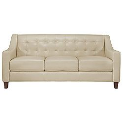 Bon Elise Lt Taupe Leather Sofa Maybe