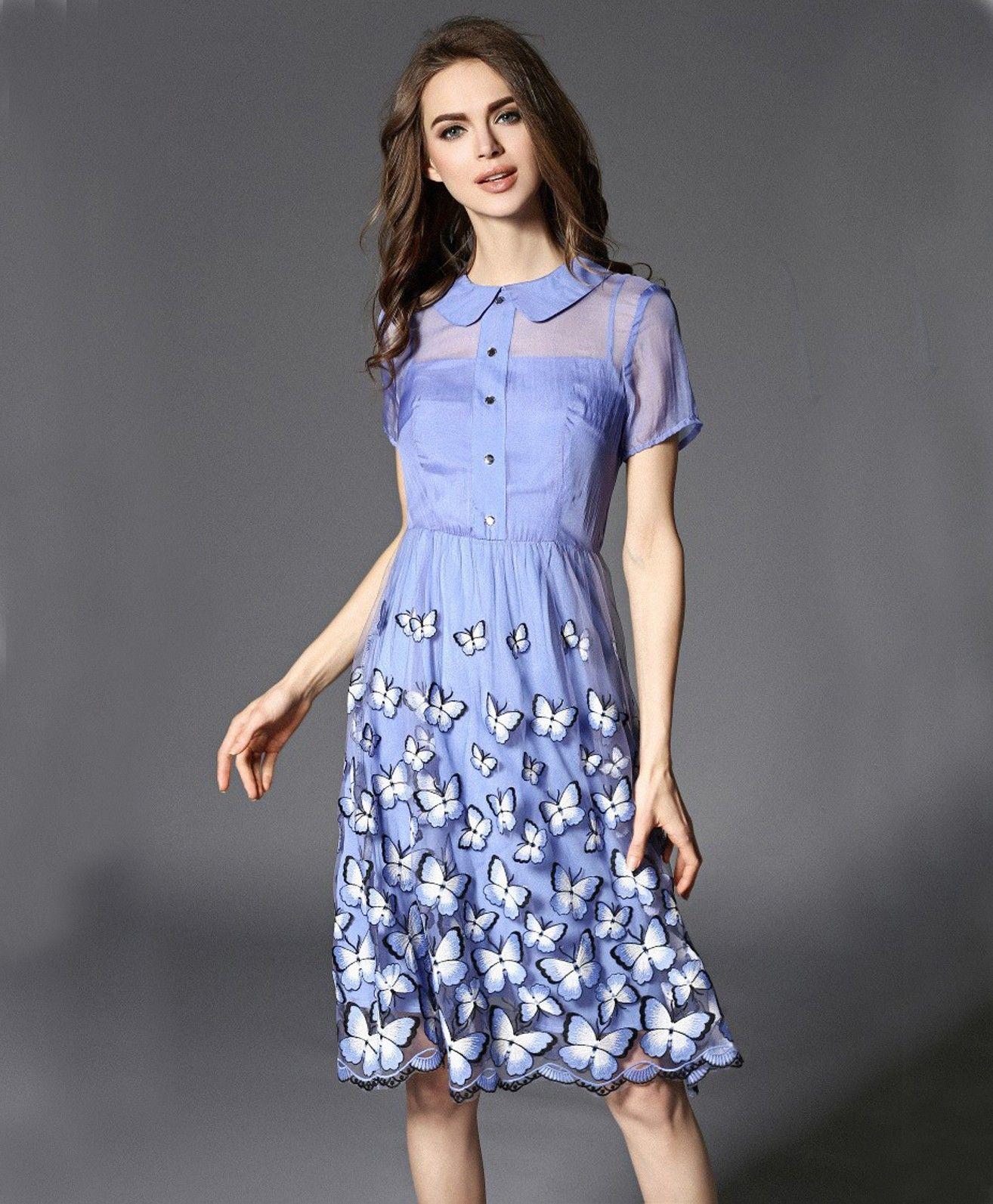 Blue Designer Round Quarter Half Sleeve One Piece Dress Western Dresses Western Dresses Online Frock For Women