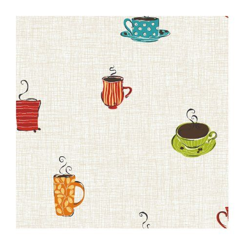 Wall In A Box SS8507 Bistro Cafe Wallpaper Beige White Background With Blue