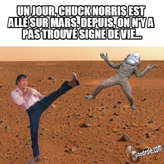 Chuck Norris est allé sur mars... | Images droles humour, Chuck norris et Humour