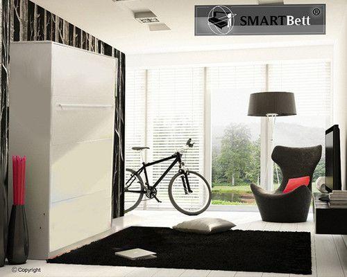 smartbett schrankbett 160 vertikal mit gasdruckfedern weiß murphy