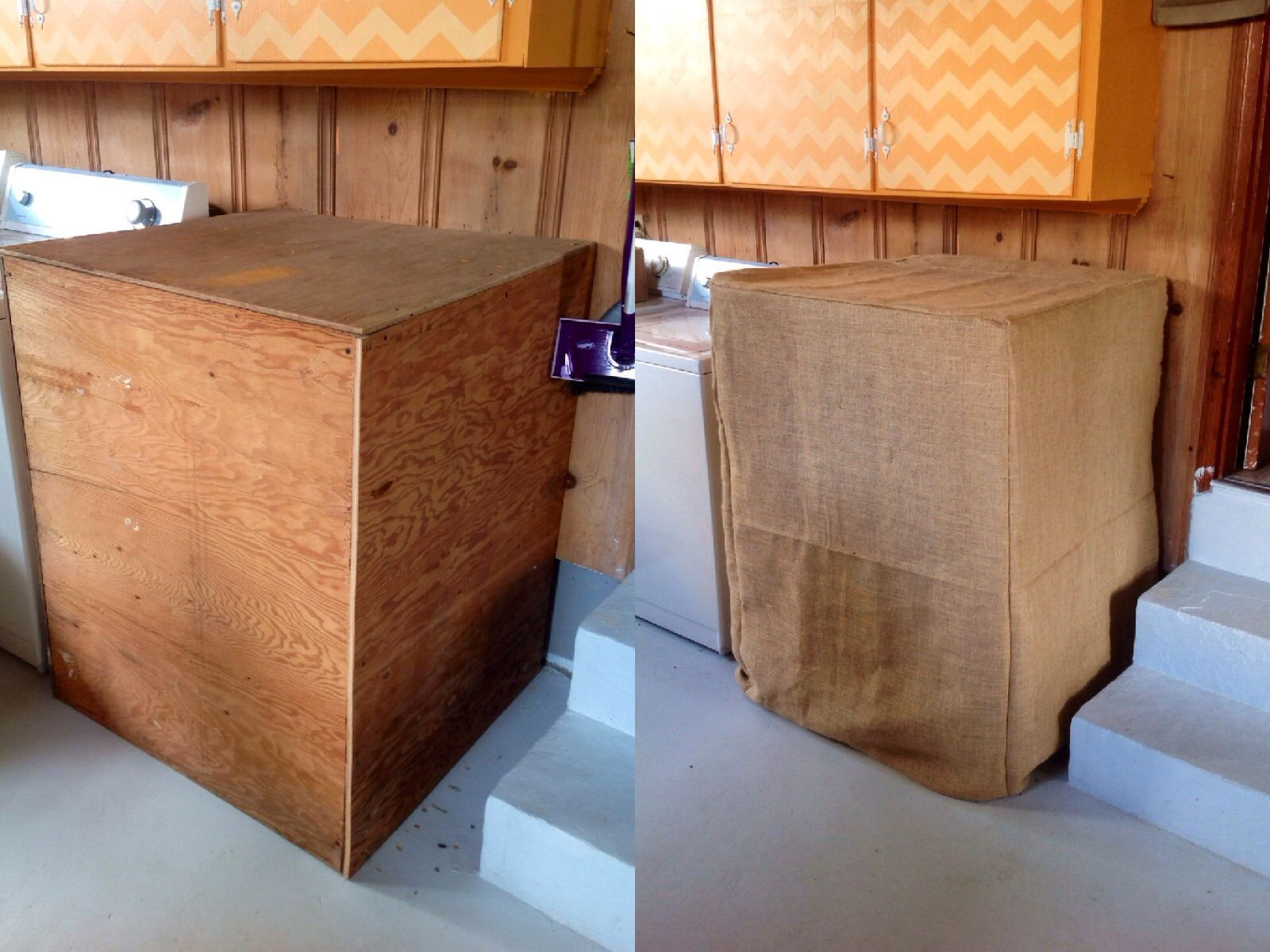 My Hubby Made Me A Box To Cover Our Hot Water Heater I Made A Burlap Slip To Go Over It Sewing The Burlap Was Not Easy Hot Water Heater