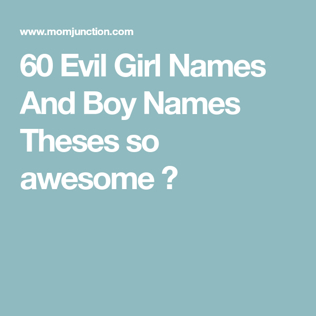 60 Evil, Vampire And Demon Baby Names - Any Takers?   Baby