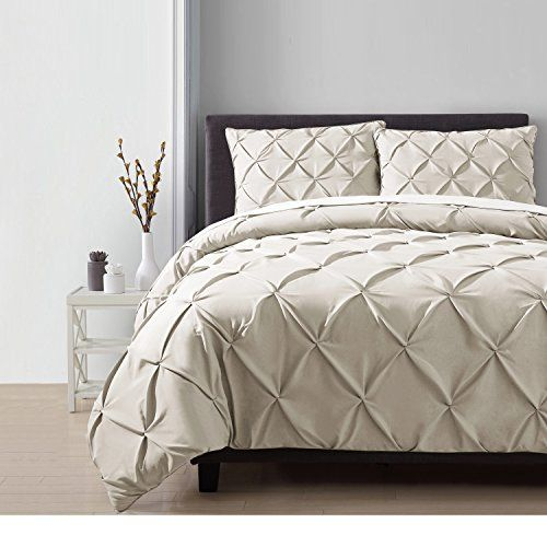 3 Piece Taupe Beige Pinch Pleated Duvet Cover King Set Plush Pinched Pleat Bedding Chic Pintuck Diamon Textured Bedding Bedding Master Bedroom Comforter Sets