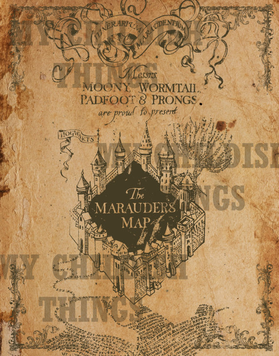 Harry Potter - Vintage Style Marauders Map- Available in Multiple ...