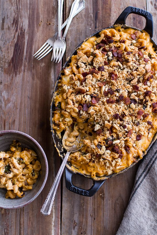 """This is a must make!  // """"Butternut Squash + Brussels Sprouts in Mac n' Cheese with Buttery Bacon Ritz Crackers"""" 