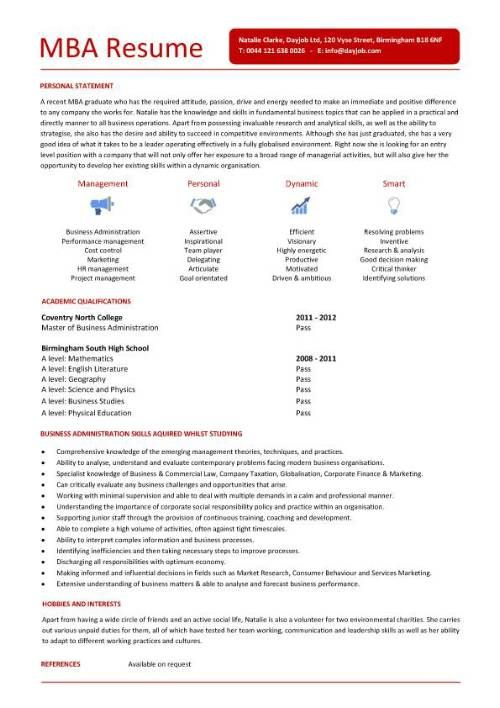 example of mba resume mba resume template 11 free samples