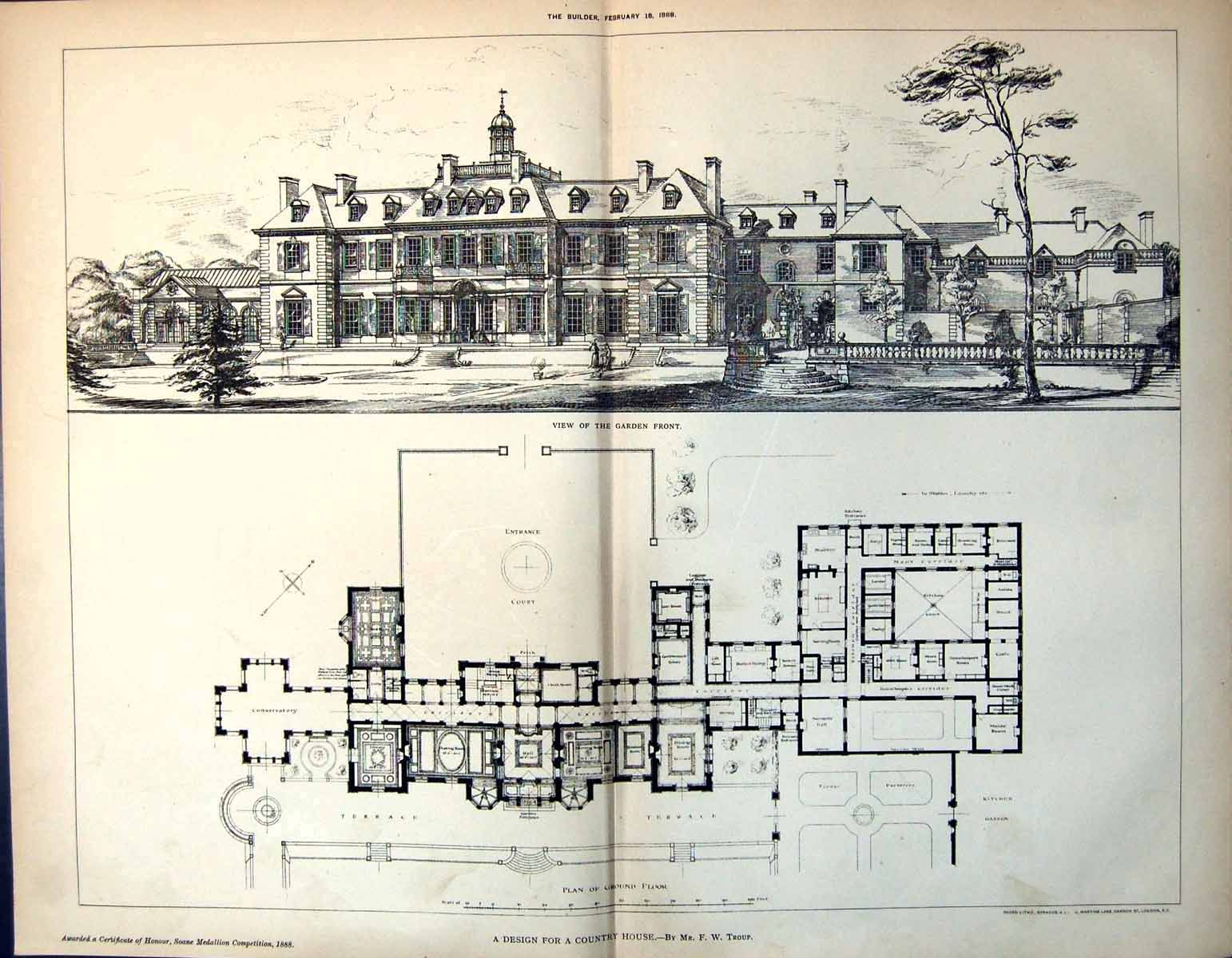 Building plans · a design for a country house view of the garden or terrace front elevation and