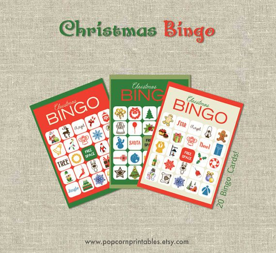Christmas BINGO Printable- Instant Download PDF- Fun Family Games- DIY - Old Fashioned Retro - Party - Gambling Game Night - 20 Boards