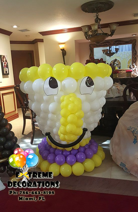 Beauty and the Beast Balloon sculpture  Chip tea Cup  Party