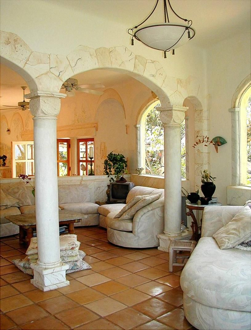 Attractive Charming Mediterranean Style Interior...Interesting Stone Work Around The  Arches.