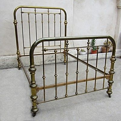 Vintage Brass Bed Two Inch Tubing On Casters Size Full Interlocking Frame Brass Bed Brass Bed Frame Antique Iron Beds