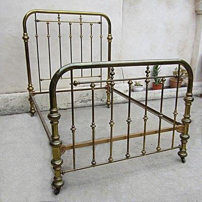vintage brass bed two inch tubing on casters size full interlocking frame - Ebay Bed Frames