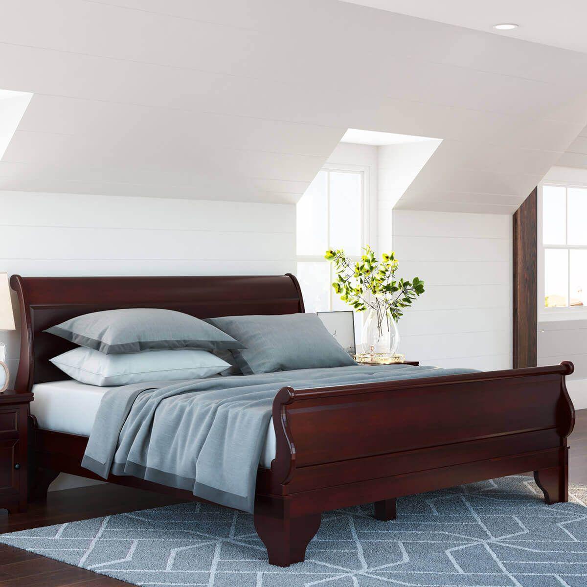Best Carina Contemporary Mahogany Wood Platform Sleigh Bed 400 x 300