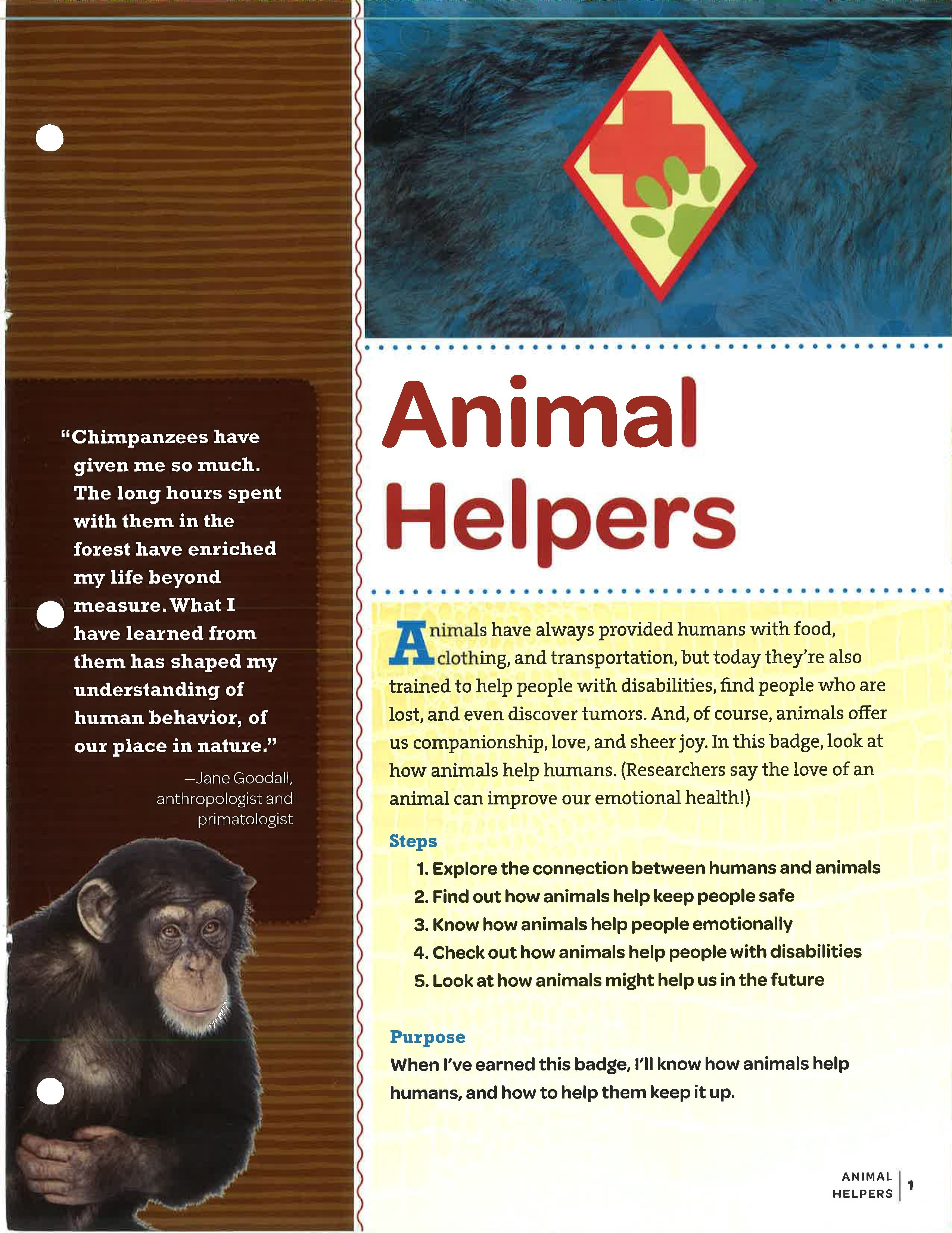Girl Scout Cadette Animal Helpers Badge Requirements