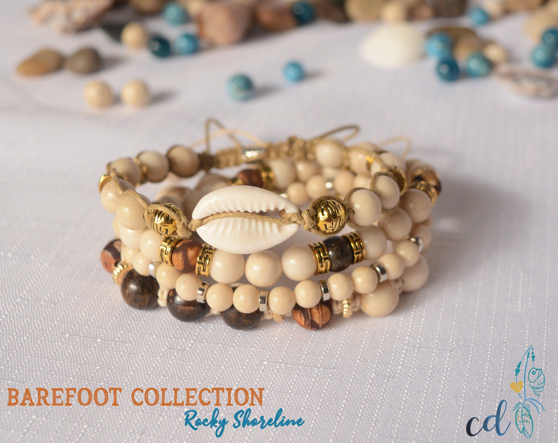 Beachy Boho Shell Bracelet Stack Bracelet Set With Cowry Shell Natural Wood Fossil Beads Bronzite And Tibetan Dzi Beads Perfect Gift Shell Bracelet Bracelet Set Beaded Bracelets