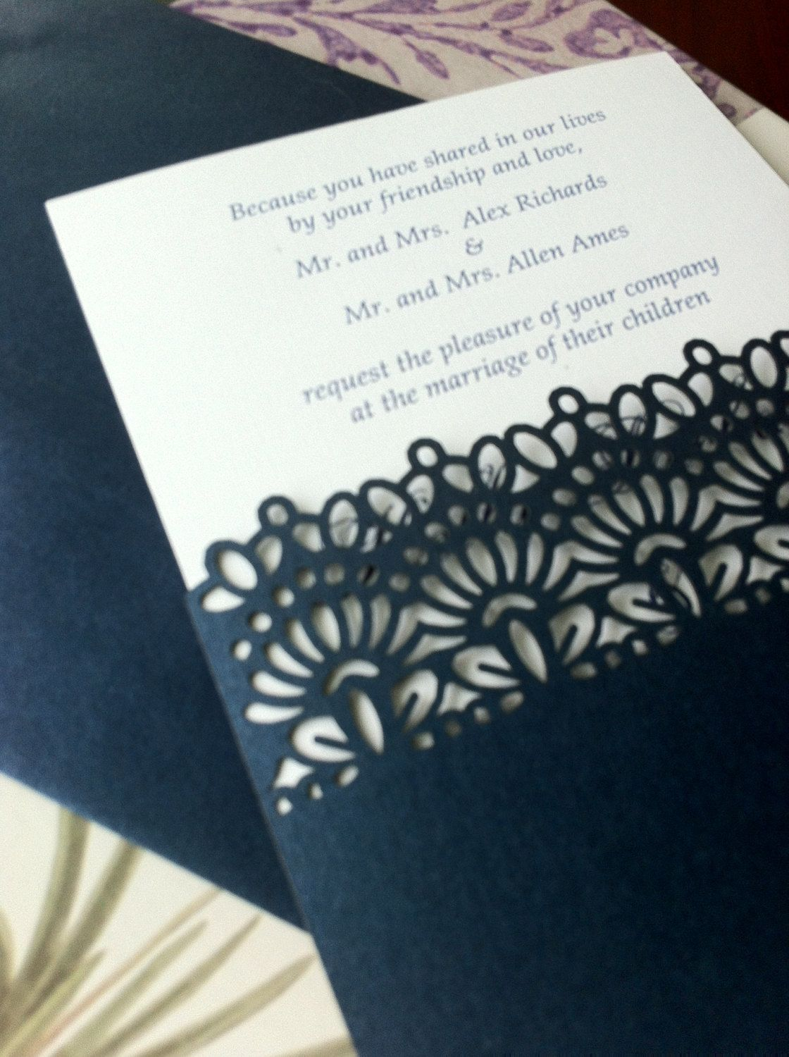 Lace Pocket Simple Wedding Invitation Laser Cut Could Do It