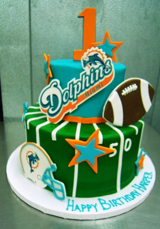 Miami Dolphins Birthday Cake With Images Dolphin Birthday Cakes Miami Dolphins Cake Dolphin Cakes