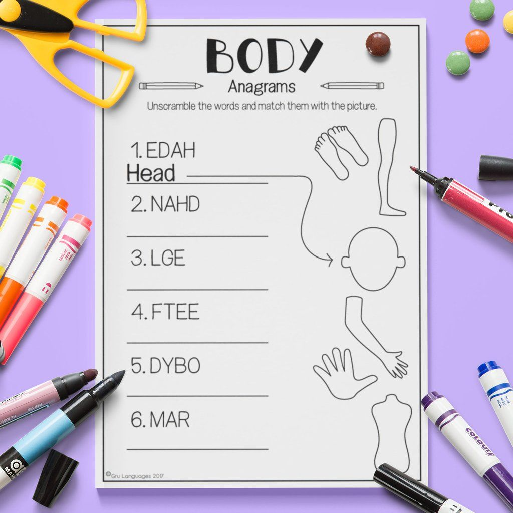 Body 'Anagrams'   Vocabulary activities [ 1024 x 1024 Pixel ]