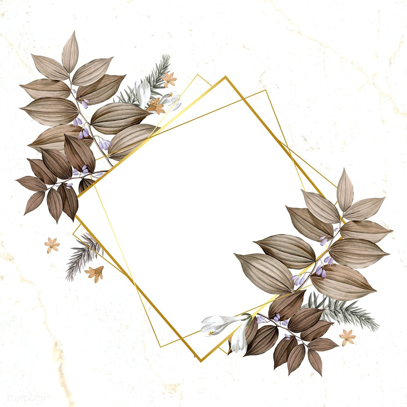 Download Premium Vector Of Rhombus Foliage Frame On White Marble White Marble Background Flower Background Wallpaper Marble Background