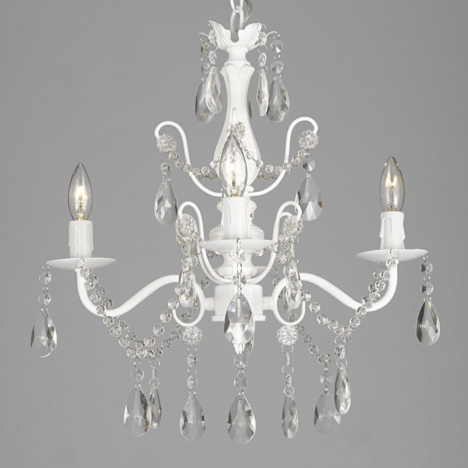 "Wrought Iron and Crystal 4 Light White Chandelier H 14"" X W 15"