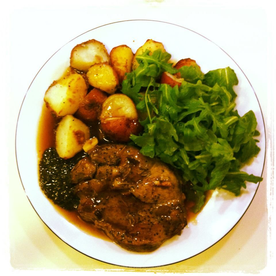 Lamb Steak Roast Potatoes Bisto Gravy Mint Sauce And
