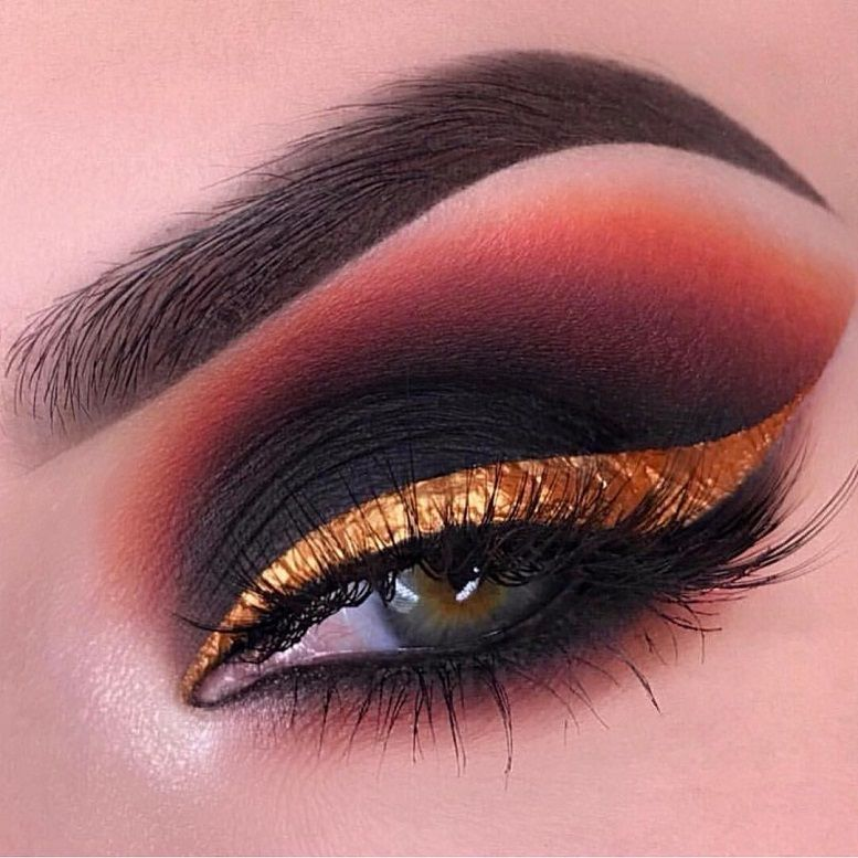 Fabulous eye makeup ideas make your eyes pop - Brow Wiz in Granite, cream color in Jet as a base for the lid, and shadows in Noir, Deep Brown, Realgar, Orange Soda, and Soft Gold #eyemakeup #makeup #eyes #beauty